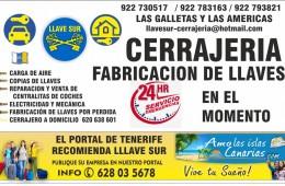 cerrajeria en las Galletas Tenerife Costa del Silencio los Cristianos 24 hs llavesur islas canarias casa arona